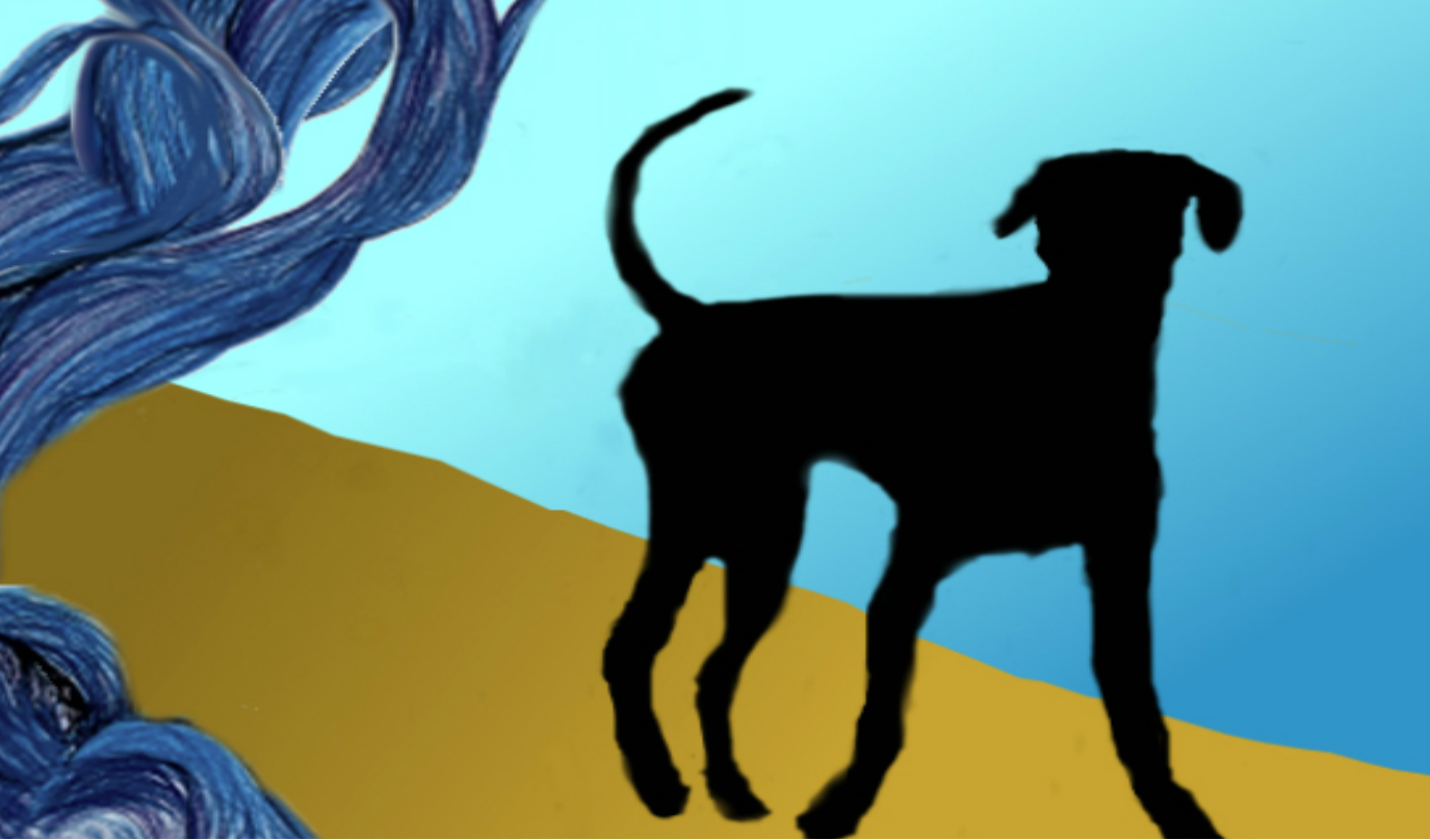 Dibujo de un perrito negro. El paisaje es un trozo de cielo ramas de un árbol y tierra ocre.