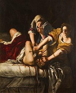 Judit decapitando a Holofernes. Artemisia Gentileschi. Óleo sobre lienzo, 1,99 X 1,62 (Galería de los Uffizi , Italia)