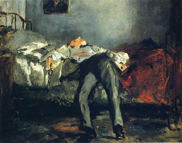 Le Suicidé. Pintura al óleo. Édouard Manet, terminada entre 1877 y 1881.