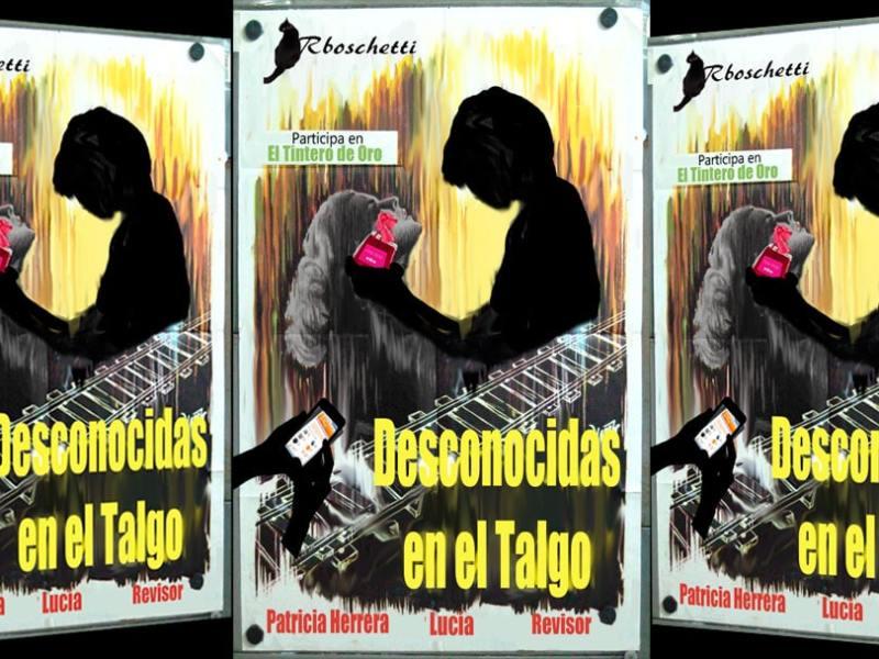 Tríptico con cartel ficticio de la obra: Extraños en un tren