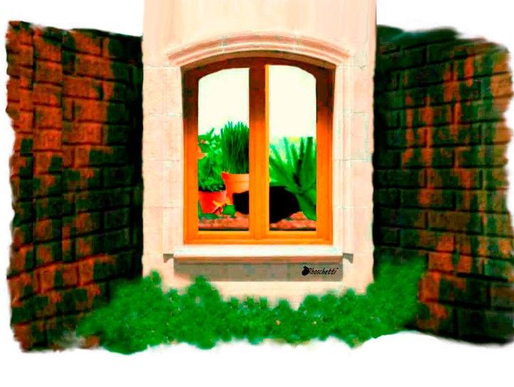 Ventana cerrada de la habitación del hostal vista desde afuera.