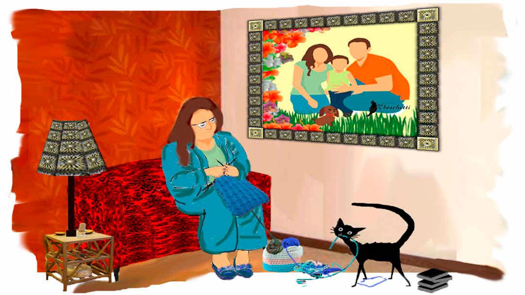 Escena de la madre en el salón de su casa (casa de los padres de Saturnino Segundo) Teje un hilo azul. Gato negro (Bram) al acecho del hilo