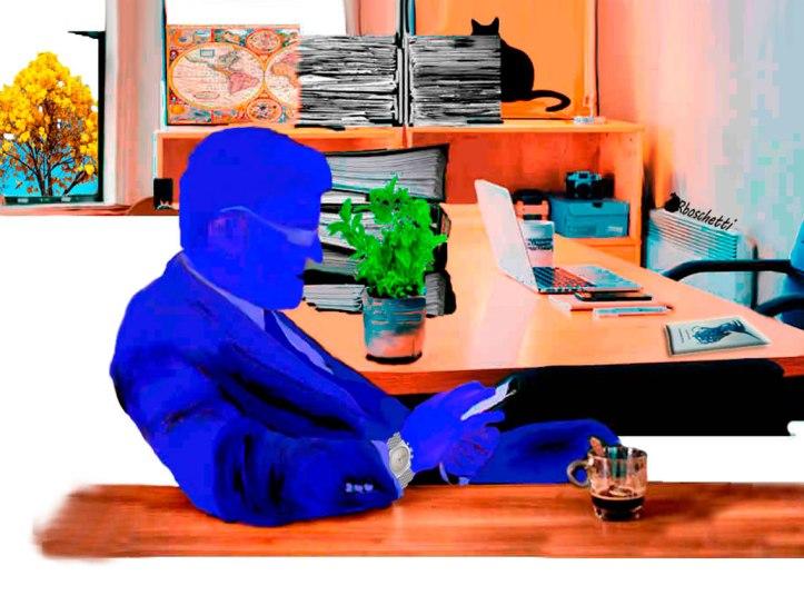 Un hombre sabio. Víctor sentado en la oficina de Saturnino Segundo, revisa el móvil, parece pensativo