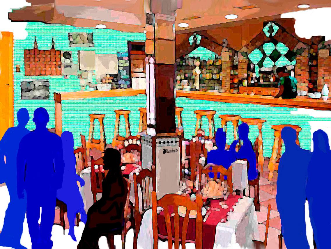 Bar del hostal Saturnino Segundo habla con los compañeros de trabajo