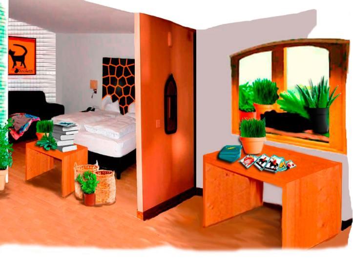 Gato negro( Bram) duerme en la ventana. Habitación del hostal ordenada. Sobre la mesa las barajas españolas extendidas. Caballos enfrentados. Rey de oro