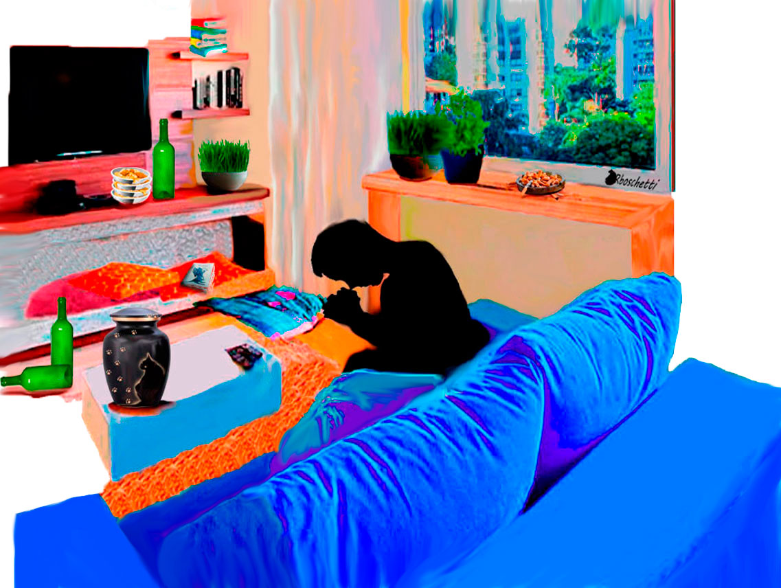 Me encuentro con la perversidad dice Saturnino Segundo que llora la muerte del gato negro (Bram) en el piso de Daniel