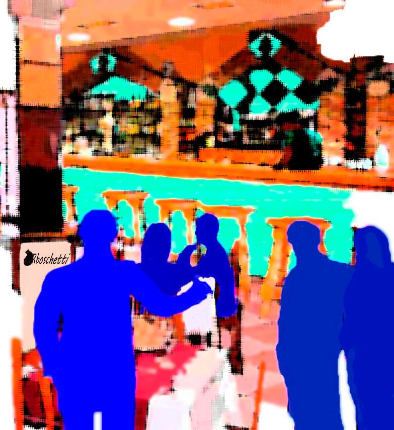 En el bar del hostal, un movimiento de Víctor demanda silencio