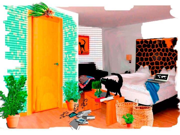 Gato negro( Bram) arroja cosas al suelo como protesta. El libro Malas decisiones en el suelo. Teléfono suena. Habitación del hostal. Desorden.