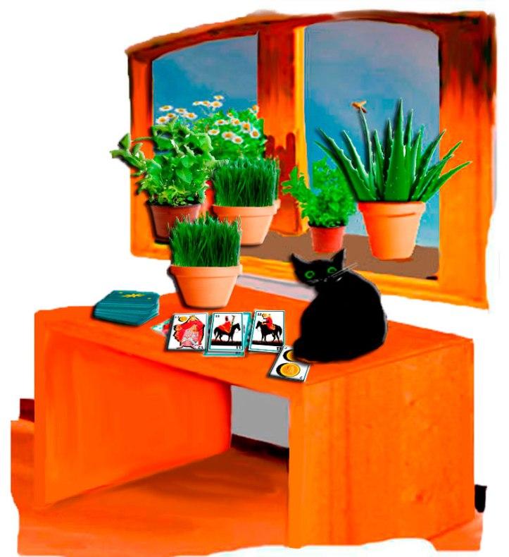 Detalle de la ventana de la habitación del hostal vista desde adentro. Esa abeja ronda la planta de aloe vera. obre la mesa el gato negro (Bram) cubre el dos de oro (prudencia) las barajas españolas extendidas señalan caballos enfrentados y el rey de oro.