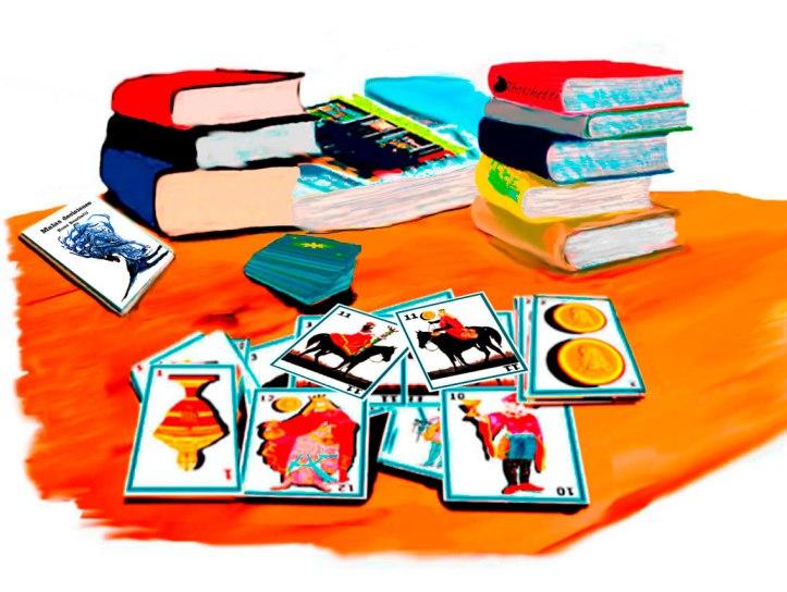 Consulta (lectura) barajas españolas (caballos enfrentados, hombre y mujer, as de copas invertido) Habitación del hostal. Libro Malas decisiones con otros sobre la mesa