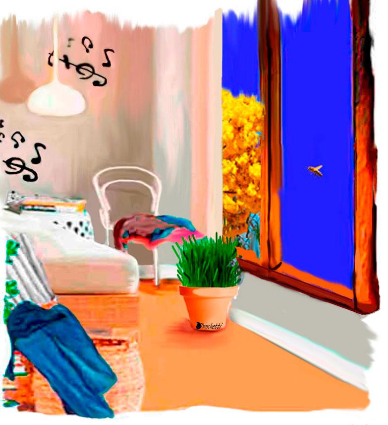 Esa abeja ronda la habitación de casa de los padres de Saturnino Segundo. La ventana, ropa y una planta con hierba de gato. Música