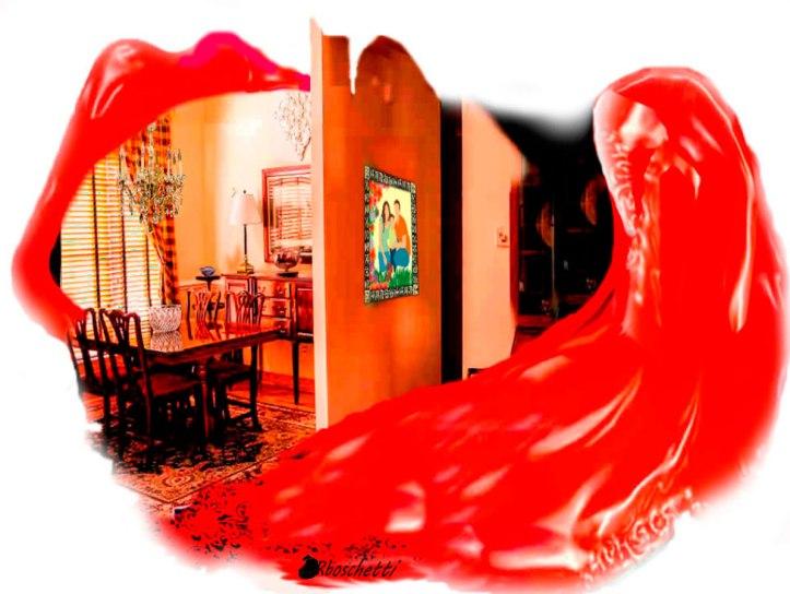 Discusión en el salón comedor de casa de los padres de Saturnino Segundo en forma de lengua roja