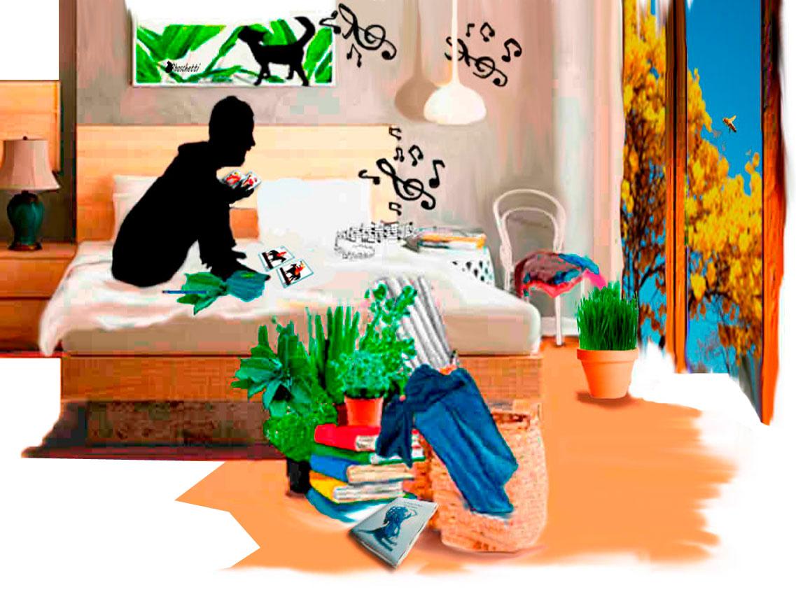 Sentado sobre sus cama, Saturnino Segundo escucha música y consulta las barajas españolas: Caballos enfrentados, se auguran conversaciones. Detrás de la venta esa abeja sobre vuela. Ropa, hojas de salvia, y cosas en el suelo auguran conversaciones