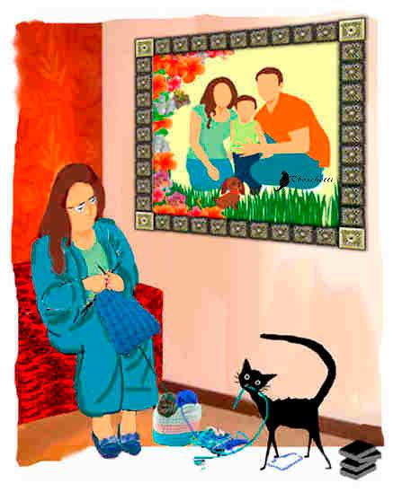 Detalle que resalta el retrato familiar. Gato negro (Bram) al acecho del hilo azul. Madre de Saturnino Segundo teje. Escena en el salón de la casa de los padres