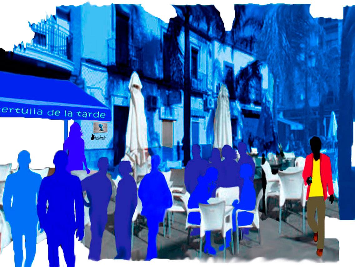 Café de la tertulia de la tarde. Terraza con sillas, mesas y siluetas azules. Saturnino Segundo llega