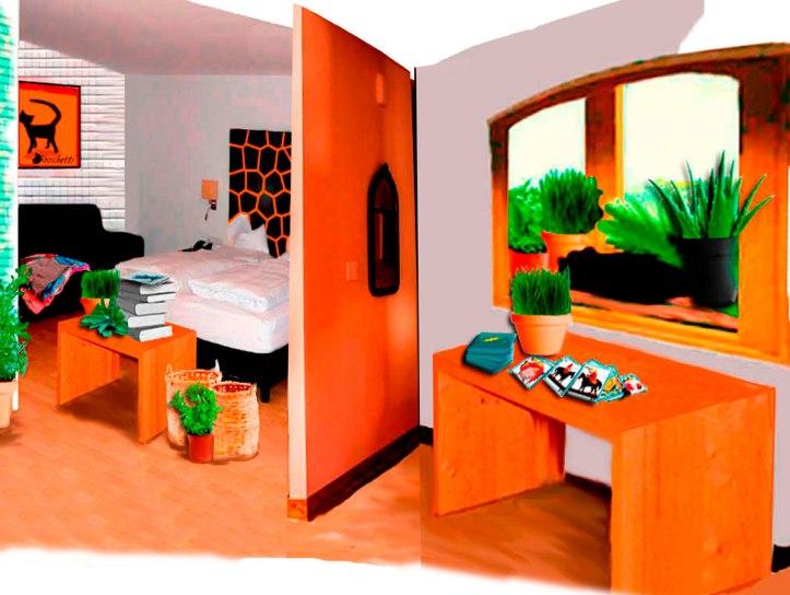 Habitación del hostal en orden. Lectura barajas con un gato negro (Bram) en la ventana.