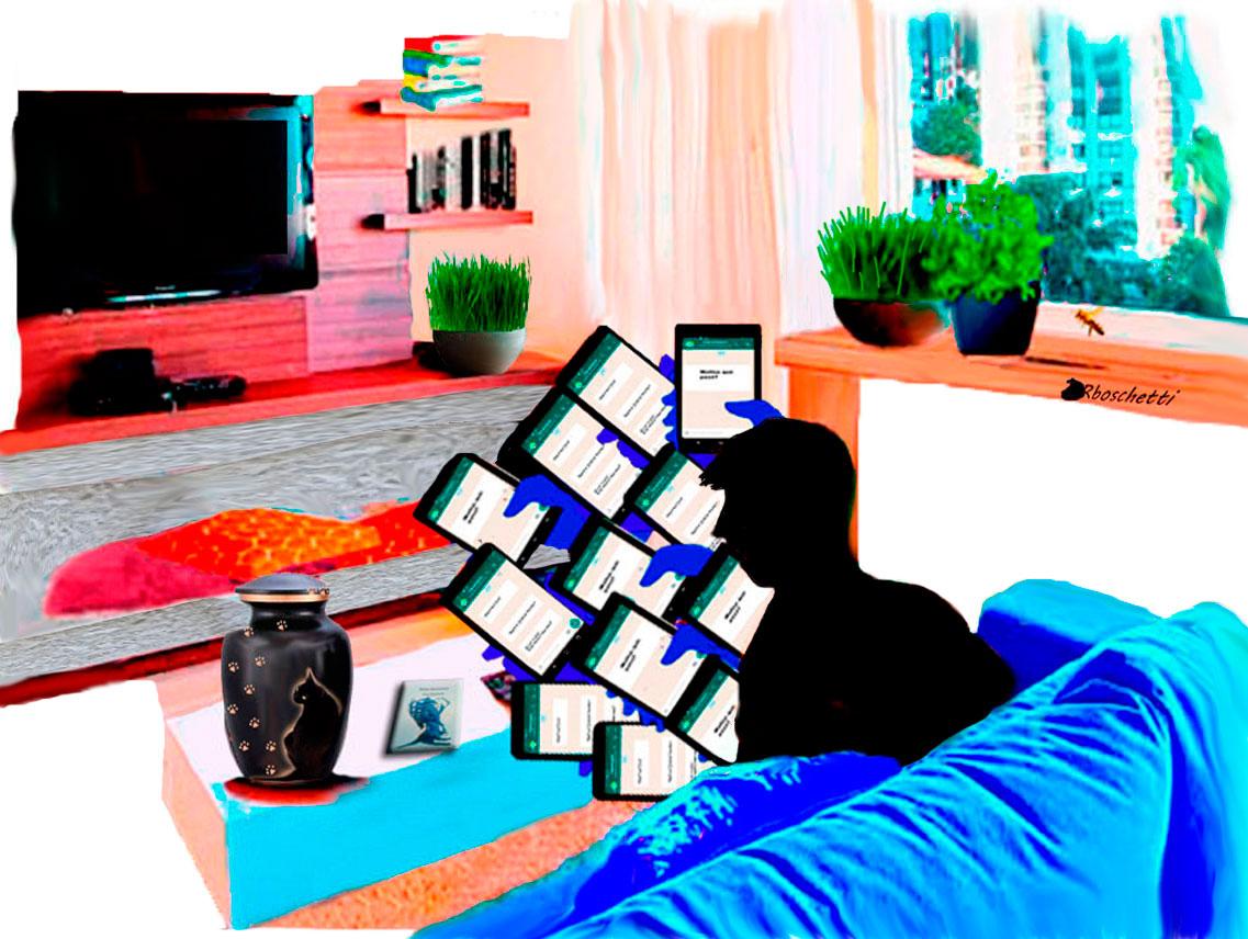 Revisa mensajes del móvil. Sobre la mesa del salón del piso de Daniel: la urna con las cenizas del gato negro (Bram) y El libro Malas decisiones