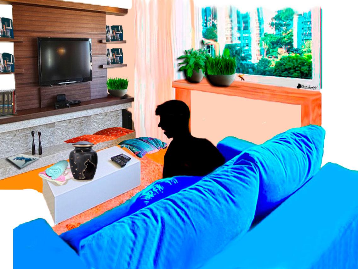 El salón del piso de Daniel está en orden. Saturnino Segundo, sentado en el sofá y esa abeja, desde la ventana, contemplan la urna.