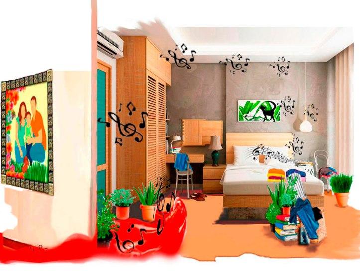Voces alzadas en discusiones se colaron por las paredes de la habitación de la casa de los padres de Saturnino Segundo, que responde con música