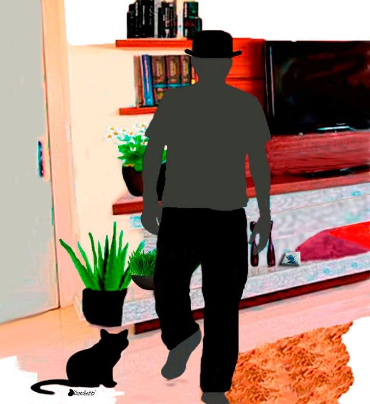 Bram escucha resignado a Saturnino Segundo (silueta) en el salón del Piso de Daniel.