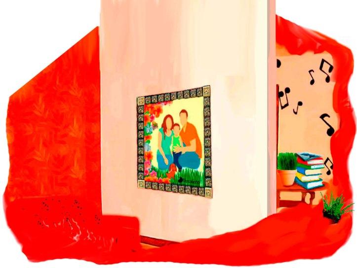 Las paredes de la casa de los padres de Saturnino Segundo se ven envueltas en el rojo de la discusión. La música la respuesta de él