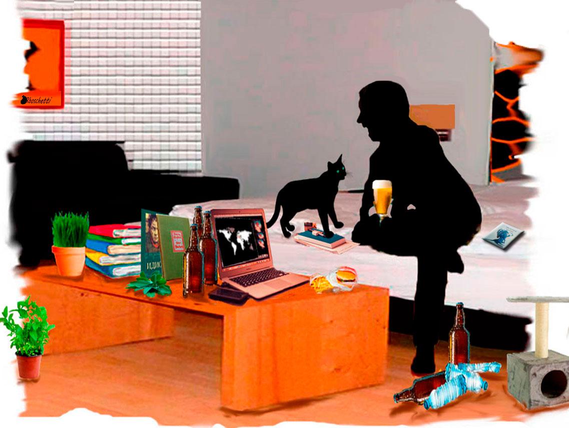 Saturnino Segundo (silueta) conversa con Bram (gato negro) y con los amigos desde su smartphone y portátil. Habitación del hostal en desorden, libro Malas decisiones sobre la cama
