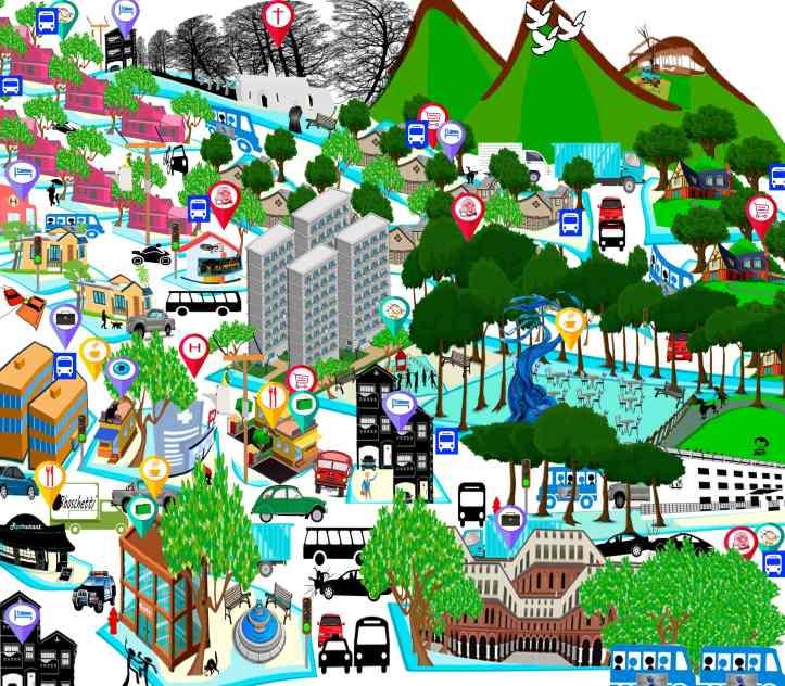 Mapa de la ciudad ficticia de Agnus. Código postal y clima