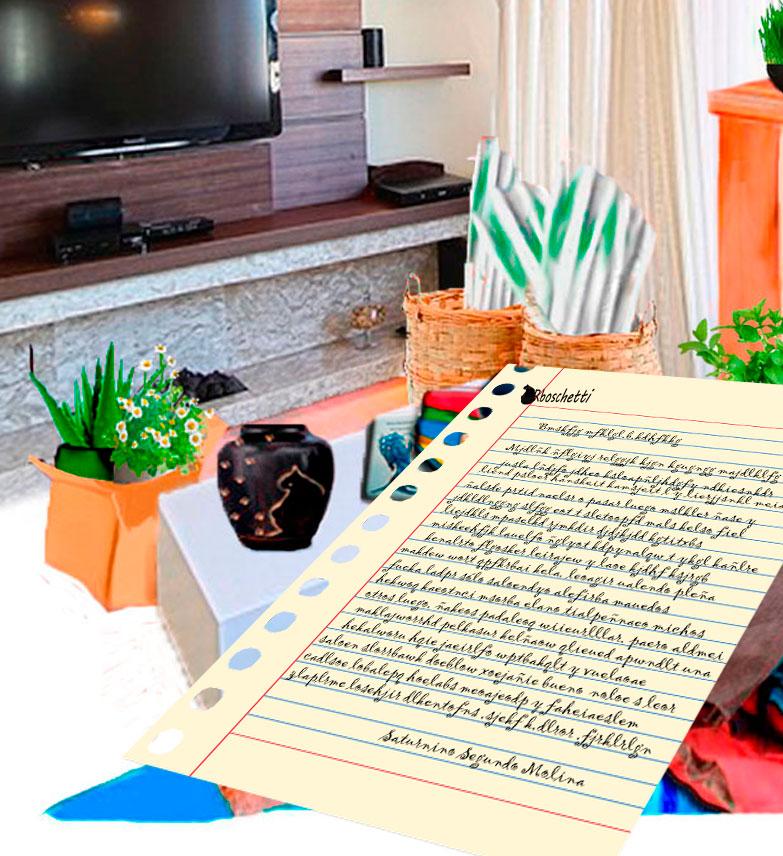 Primer plano de la Carta. En el salón del piso de Daniel. Sobre la mesa: la urna con las cenizas del gato negro (Bram), el libro Malas decisiones.