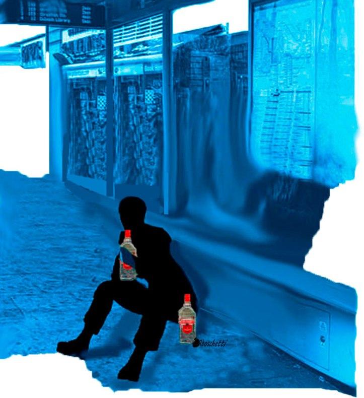 Sentado en el suelo de la parada de autobús tiene extrañas visiones