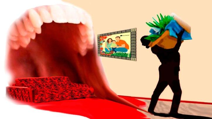 Salón-comedor casa de los padres (gritan) de Saturnino Segundo (sale con sus plantas en una caja de cartón)