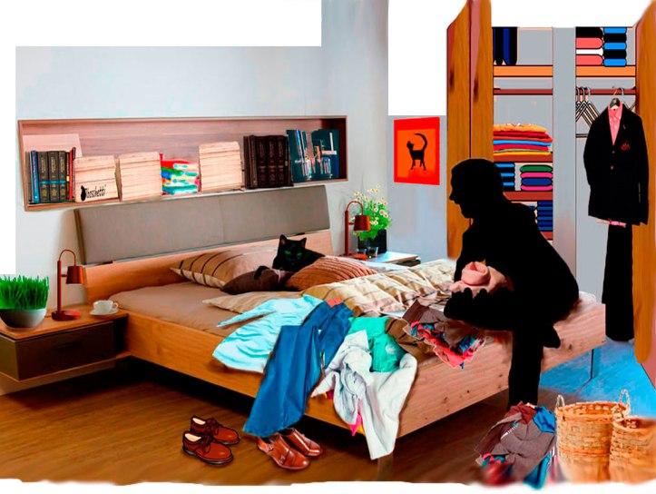 Gato negro (Bram) ayuda a elegir camisa a Saturnino Segundo (silueta) para su cita. Ambos están sentados en la en la cama de la habitación del piso de Daniel.