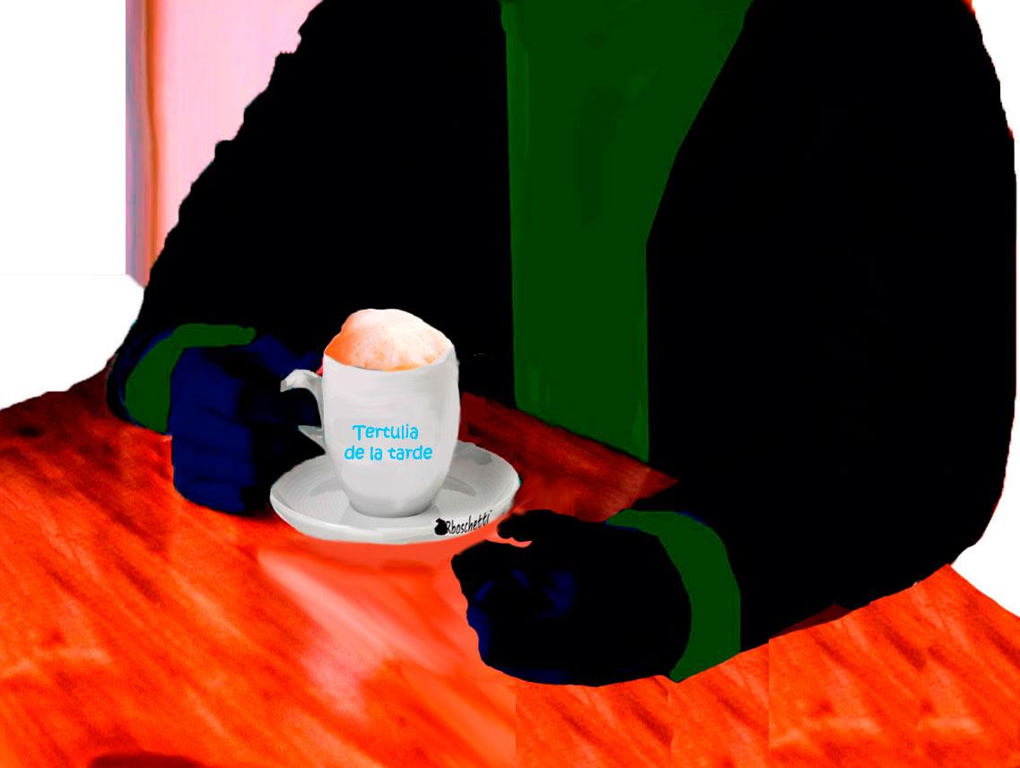 Juego de la taza de café. Están el Café de la tertulia de la tarde.